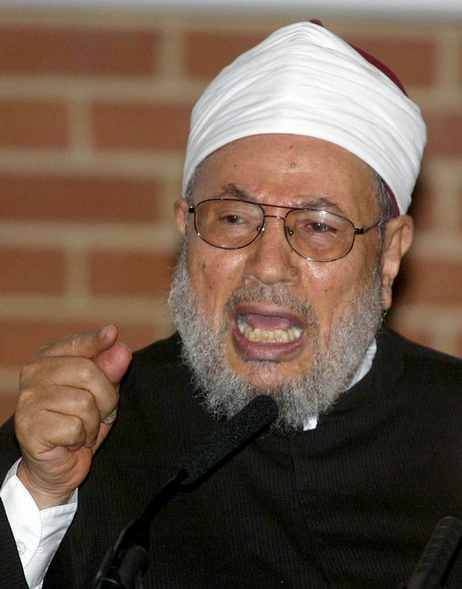 Egyptian-born Muslim cleric Yusuf Al-Qaradawi addresses the Muslim Association of Britain in London,..